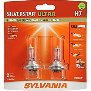 SYLVANIA H7 SilverStar Ultra High Performance Halogen Headlight Bulb, (Contains 2 Bulbs)