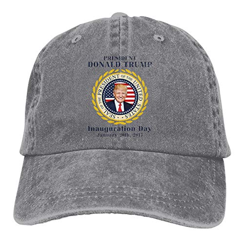 Jamin Sains Men`s Trump-Inauguration-Day-Trump-President-America-USA-Flag Adjustable Dad Hat Cowboy Baseball Caps Gray