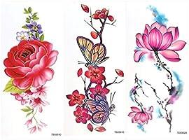 ULTNICE 9 hojas temporales flores tatuajes pegatinas peonía ...