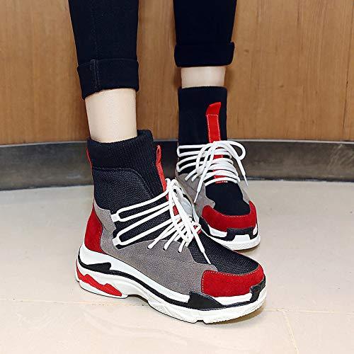 Botas Confortables para Mujeres Satén Otoño e e e Invierno Botas Informales/de Muy Buen Gusto Zapatos para Caminar Tacón de cuña Botas a Media Pierna con Punta Redonda Blanco/Rojo/Color Block 56f698