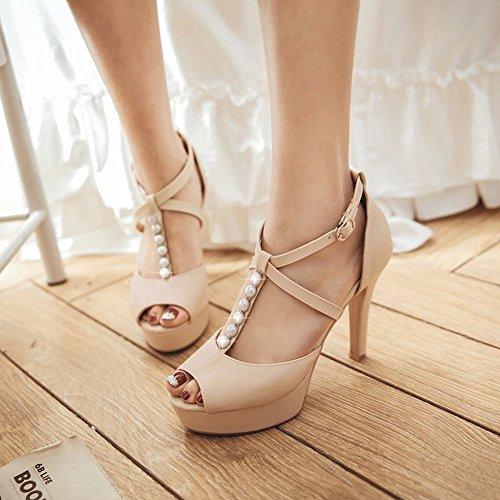 Mee Shoes Damen high heels Peep toe Plateau T-Strap Sandalen Beige