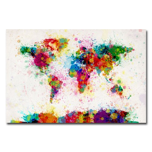 paint splashes world map by michael tompsett 22x32 inch canvas wall art - Colorful Art