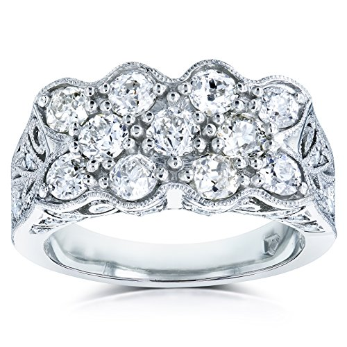 Old Mine Cut Diamond Vintage Filigree Indented Concave Wide Ring 1 7/8 CTW in Platinum (Certified), 7 (Cut Diamond Concave Ring)