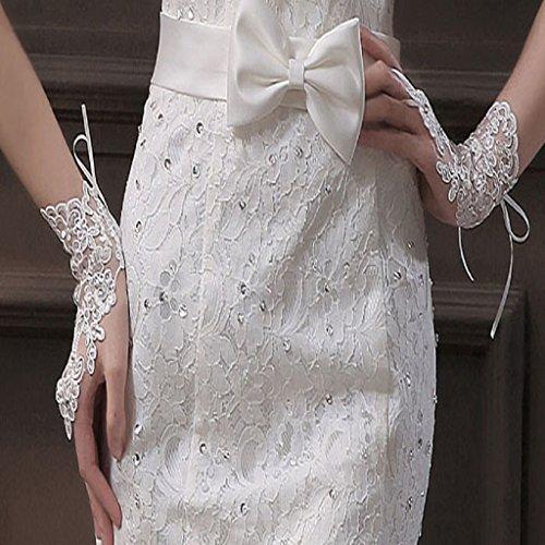 Kingfansion Bride Wedding Party Dress Fingerless White Lace Satin Bridal Gloves