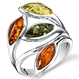 Baltic Amber Leaf Ring Sterling Silver Cherry Olive Honey Cognac Colors Sizes 5-9