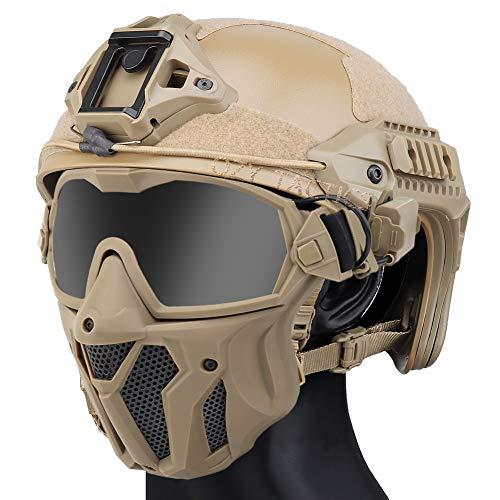 QZY Casque Rapide Tactique MK New Type avec Masque De Ventilateur Intégré Anti-Buée,WST Casque Avancé De Type Saut… 1
