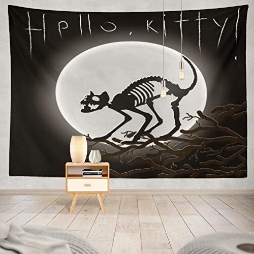 WAYATO Moon Wall Hanging Tapestry, 80 x 60 inch Hello Kitty Silhouette Cat Skeleton Moon Halloween Scary Animal Art for Home Decorations Bedroom Dorm Decor