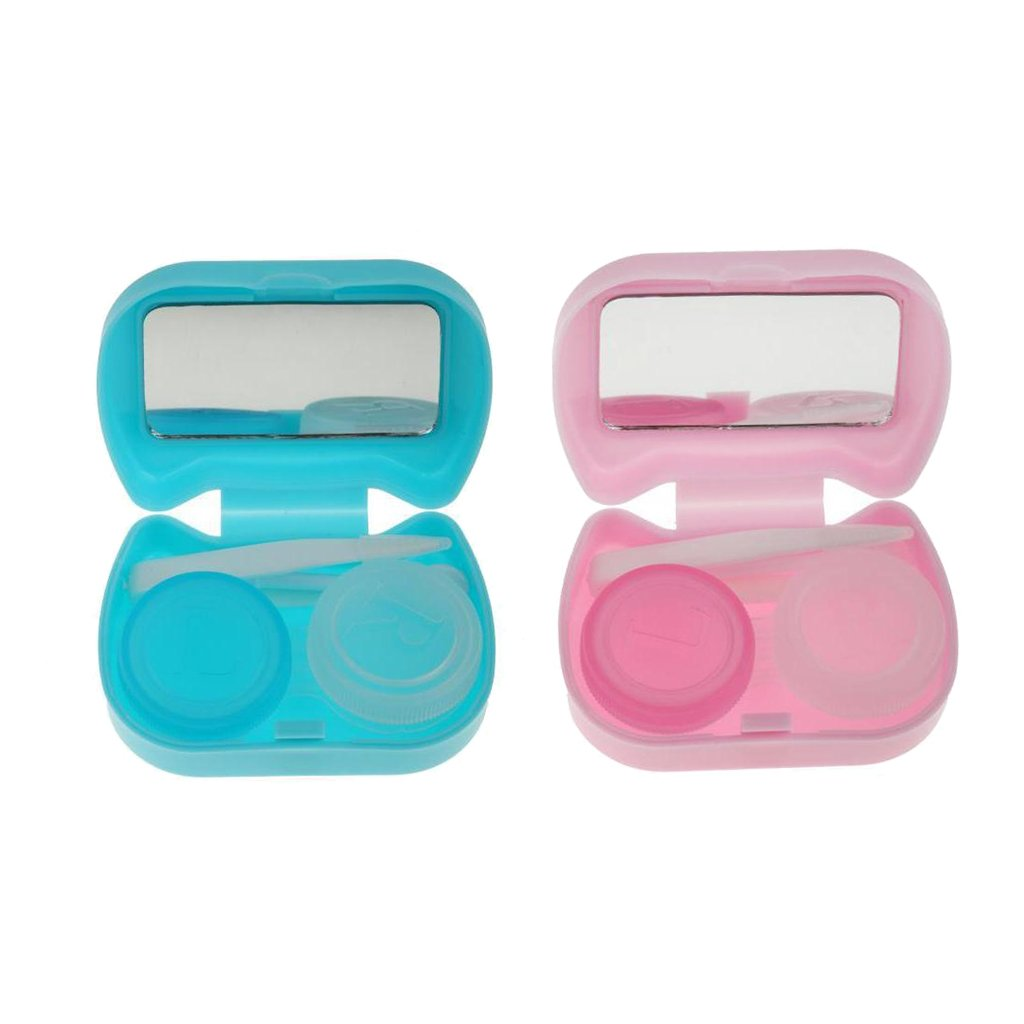 D DOLITY 2pcs Cute Travel Kit Portable Contact Lens Case Container Holder Storage Box Eye Care Kit - Blue and Purple