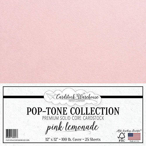 Pink Lemonade Cardstock Paper - 12 x 12 inch 100 lb. Heavyweight Cover - 25 Sheets from Cardstock Warehouse