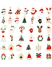AMOLEY 38 Pcs Christmas Pendant Charms, Assorted Gold Charms Pendant Plated Enamel Charms for Jewelry Making Christmas DIY Necklace Bracelet Earrings Making Crafting Decoration