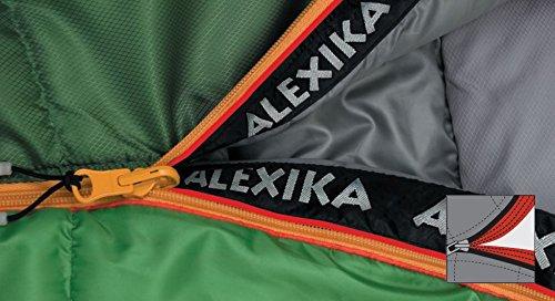 ALEXIKA saco de dormir de montaña, cierre de cremallera marcha bien,/gris, 80 (ancho superior) x220 (longitud) x55 (ancho abajo), 9221.0101r verde