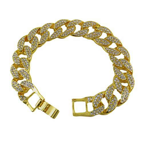 [Thick Hip Hop 24k Gold Plated Iced Out Cuban Link Bracelet] (Guys Hip Hop Dance Costumes)