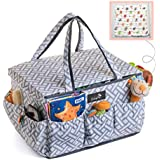 BabyDu Premium Diaper Caddy Organizer with Dust Cover, Large Nursery Travel Storage Bin, Portable and Washable Basket, Tote Bag for Diapers, Bottles, Wipes, Toys, Baby Shower Gift, w/Free Hand Towel