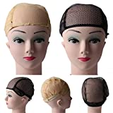 10Pcs Breathable Wig Cap Hairnet Adjustable Nylon Weaving Mesh Wig Caps With Lace Straps For Making Wig 2 Colors Beige