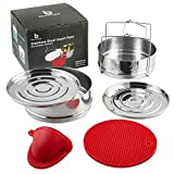 Instant Pot Accessories - Premium Quality Stainless Steel Stackable Steamer Insert Pans For In Pot Cooking With 2 Interchangeable Lids - Bonus Silicone Mits & Trivet Mat - For 6 or 8 Qt Pans