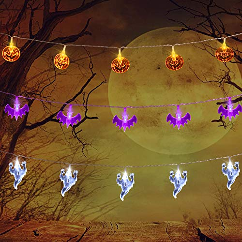 AOSTAR Set of 3 Halloween Lights (20 LEDs Orange Pumpkins, Purple Bats, White Ghosts), Battery Operated String Lights for Halloween Decorations Outdoor & Indoor