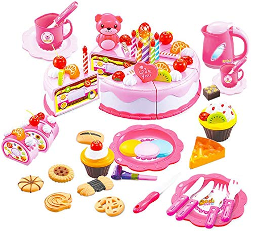 (HenMerry 80Pcs DIY Birthday Cake Play Toy Candle Light Party Cutting Pretend Play Food Toy Set Girls Boys Gift for Children (Pink))