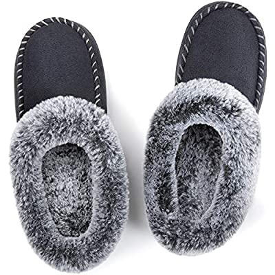 ULTRAIDEAS Women's Cozy Memory Foam Moccasin Suede Slippers with Fuzzy Plush Faux Fur Lining, Ladies' Slip on House Shoes with Indoor Outdoor Anti-Skid Rubber Sole | Slippers