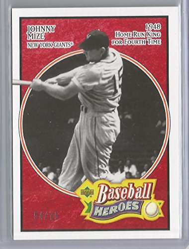 2005 Upper Deck Heroes Baseball Johnny Mize Red Parallel Card # 54/75