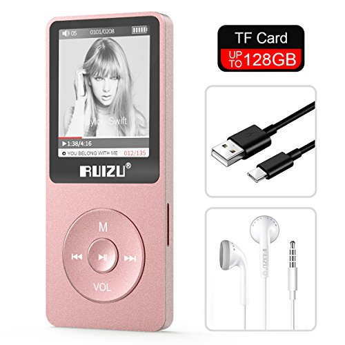 Ipod Classic Video Mp3 Player - RUIZU X02 8GB MP3 Player Classic Style with FM Radio, Voice Recorder, E-Book, Video Play, Ultra Slim Player with 1.8'' Screen, Support up to 128GB Micro SD Card, Rose Gold
