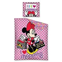 Minnie Mouse Love Shopping 2 Piece UK Single/US Twin Sheet Set - 1 x double sided sheet & 1 x pillowcase- 100% Cotton (Minnie 05)