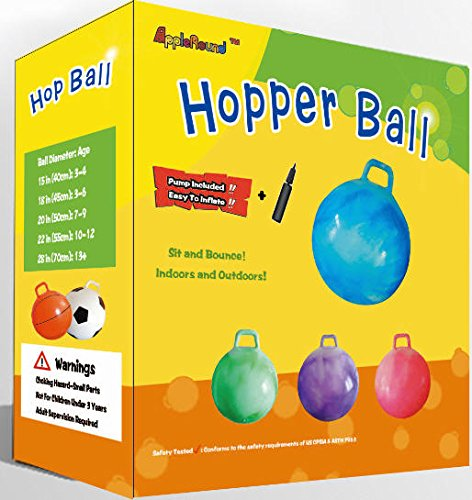 AppleRound Space Hopper Ball with Air Pump: 28in/70cm Diameter for Age 13+, Hop Ball, Kangaroo Bouncer, Hoppity Hop, Jumping Ball, Sit & Bounce by AppleRound (Image #5)