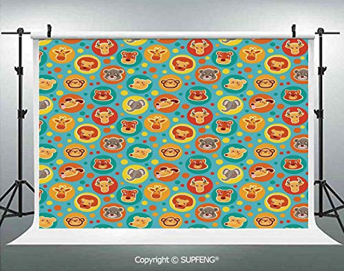 Photo Backdrop Comic Animal Faces on Colorful Dots