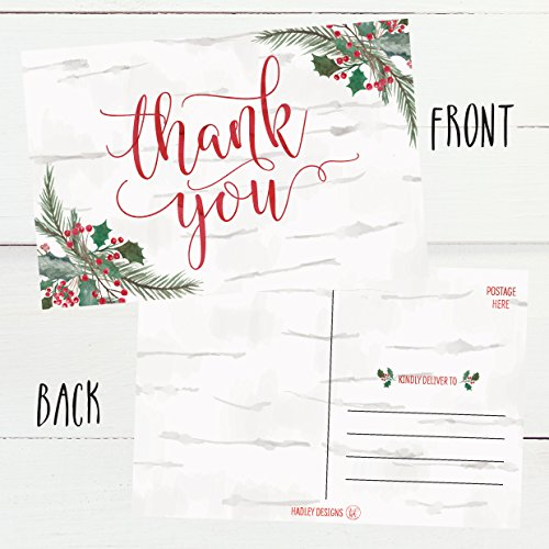 25 4x6 Woodland Christmas Holiday Thank You Postcards Bulk, Blank Cute Modern Fancy Winter Note Card Stationery For Wedding, Bridesmaids, Bridal or Baby Shower, Teachers, Religious, Business Cards Photo #6