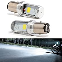 EverBrightt 2-Pack 900 Lumens White BA20D COB 12W Led Bulb For Motorcycle Headlights Electric Cars Head Lamp High Low Beam
