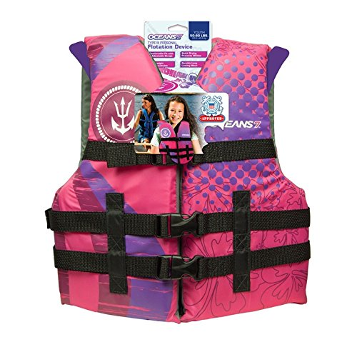 Oceans 7 by Aqua Leisure Personal Flotation Device Life Jacket US Coast Guard Certified and Approved, Comfortable Fit, Quick Drying, Durable Youth Swim Vest Type III, 50-90 lbs