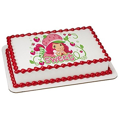 Shortcake Sheets Strawberry (Whimsical Practicality Strawberry Shortcake Edible Icing Image for 1/4 Sheet Cake)