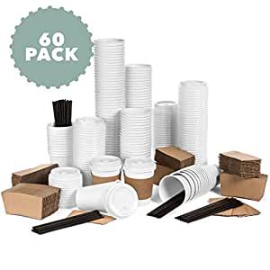 Average Joe JUMBO Set of 60 Paper Coffee Hot Cups with Travel Lids, Sleeves, and Stirrers Disposable Coffee Cups - 12OZ WHITE Hot Cups To Go Travel Mug Office/Party Pack Tea & Chocolate …