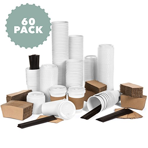 Price comparison product image Average Joe JUMBO Set of 60 Paper Coffee Hot Cups with Travel Lids,  Sleeves,  and Stirrers Disposable Coffee Cups - 12OZ WHITE Hot Cups To Go Travel Mug Office / Party Pack Tea & Chocolate …