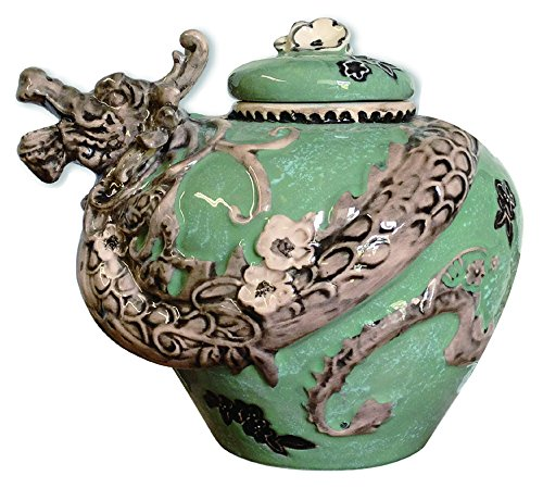 Blue Sky Ceramic Dragon Cookie Jar, Green