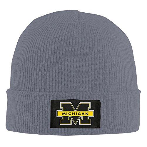 Amone Michigan Wolverinese Winter Knitting Wool Warm Hat Asphalt