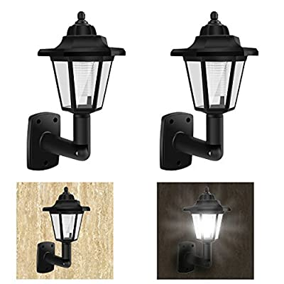 2 Pack of Solar-Powered Vintage Wall Lights, Outdoor Garden LED Wall Lamp, Classic Sconce Wall Light Design, Decorative Wall Light for Garden, Courtyard, Patio, Deck (Soft White)