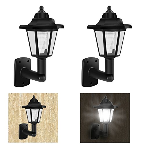 2 Pack Of Solar Powered Vintage Wall Lights Outdoor Garden Led Wall Lamp Classic Sconce Wall