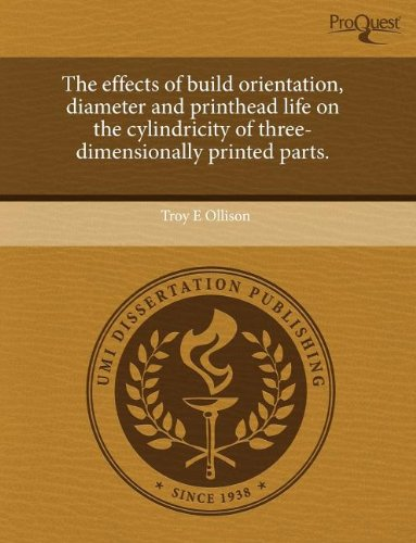 The effects of build orientation, diameter and printhead life on the cylindricity of three-dimensionally printed parts.