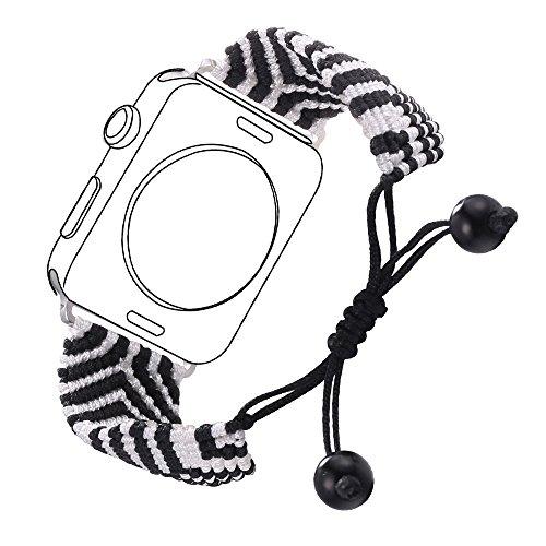 Bandmax Compatible for Apple Watch Band Woven Nylon 42MM 44MM, iWatch Series 4/3/2/1 Handmade Weave Friendship Bracelet Bohemia Braided Bracelet Mix Flexible Drawstring Clasp