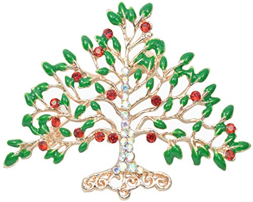 Gyn&Joy Emerald Green Leaves Red Aurora Borealis Crystal Rhinestone Winter Holiday Tree Brooch Pin BZ172R