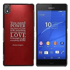 Qstar Arte & diseño plástico duro Fundas Cover Cubre Hard Case Cover para Sony Xperia Z3 D6603 / D6633 / D6643 / D6653 / D6616 ( Power Love Quote Maroon Red Text)