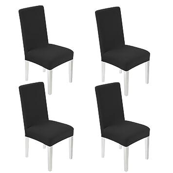 4 x Fundas para Sillas Comedor Universal WANYI Fundas para Sillas de Cocina Lavable Extraíble Fundas Sillas Comedor Elasticas (Negro): Amazon.es: Hogar