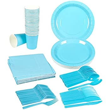 Disposable Dinnerware Set - 24-Set Paper Tableware - Dinner Party Supplies for 24 Guests Including Knives Spoons Forks Paper Plates Napkins and Cups ...  sc 1 st  Amazon.com & Amazon.com: Disposable Dinnerware - Serves 24 - $100 Hundred Dollar ...