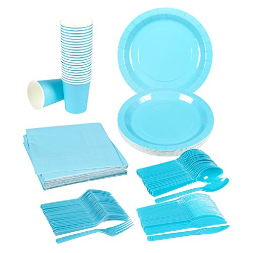 Disposable Dinnerware Set - 24-Set Paper Tableware - Dinner Party Supplies for 24 Guests, Including Knives, Spoons, Forks, Paper Plates, Napkins and Cups, Turquoise