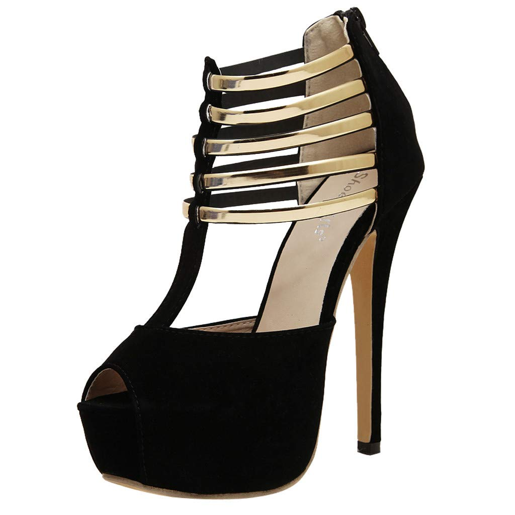 Platform T Straps Peep Toe Sandals for Women, High Heels Stiletto Shoes for Casual Dress Prom Party (38, Black)
