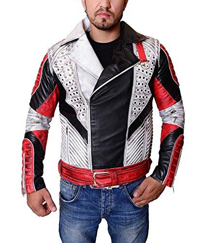 Abbraci Men Biker Motorcycle Asymmetrical Zipper Notch Collar Real Leather Jacket (2X-Large, (Notch Collar Leather)