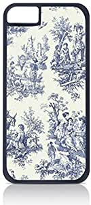 Bohemian Toile Pattern-Navy and Cream - Case for the Apple Iphone 6 plus 5.5 Universal-Hard Black Plastic Outer Shell with Inner Soft Black Rubber Lining-(NOT 6 plus 5.5)
