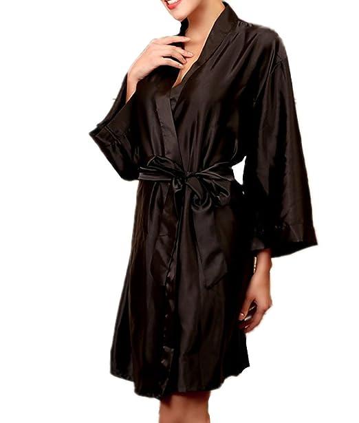 2047a96f4c60 Chancen Women s Long Sleeves Satin Silky Sleepwear Nightgowns Sleep Robe  (Black)