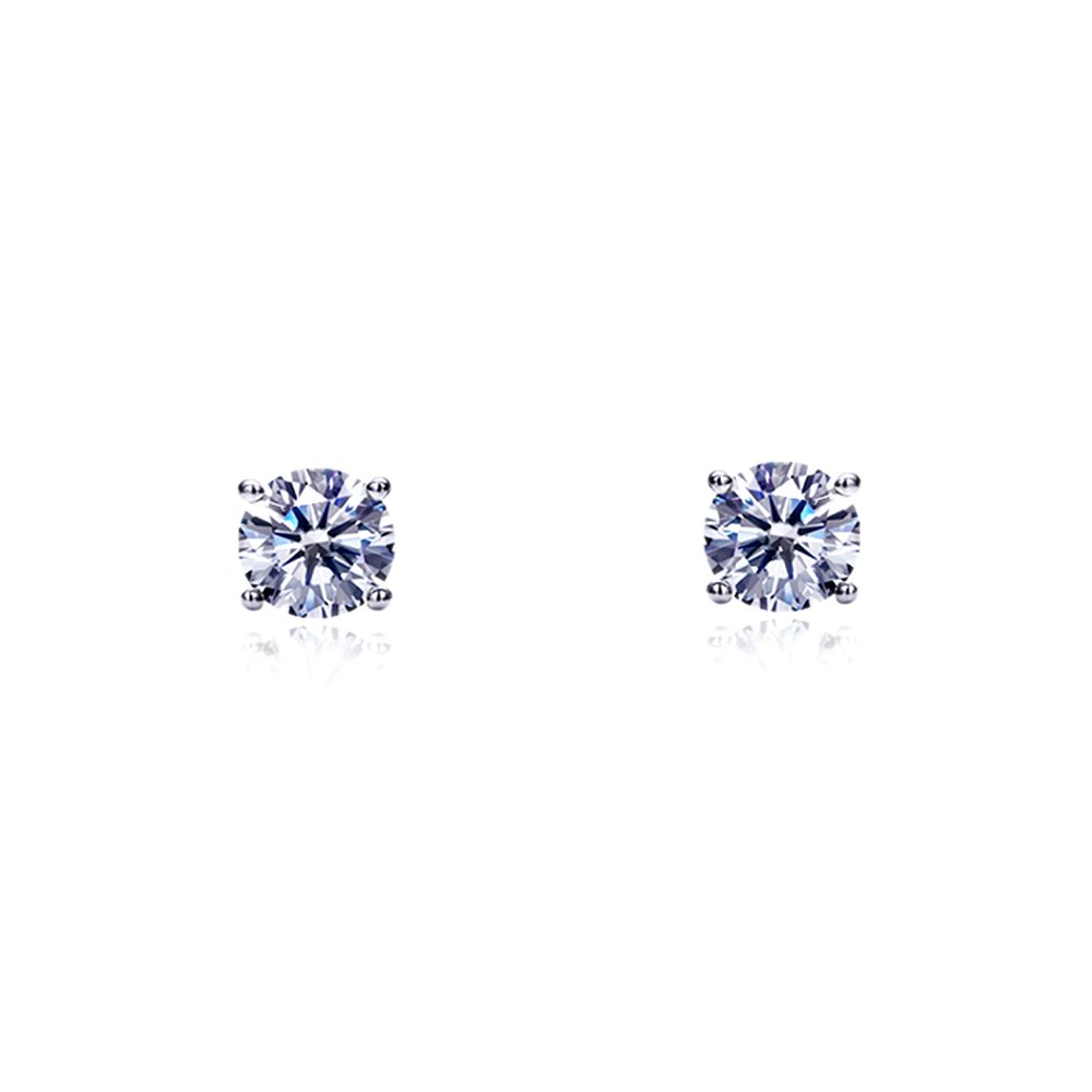 Rhodium Plated 14K White Gold Stud Earrings Round CZ Basket Setting