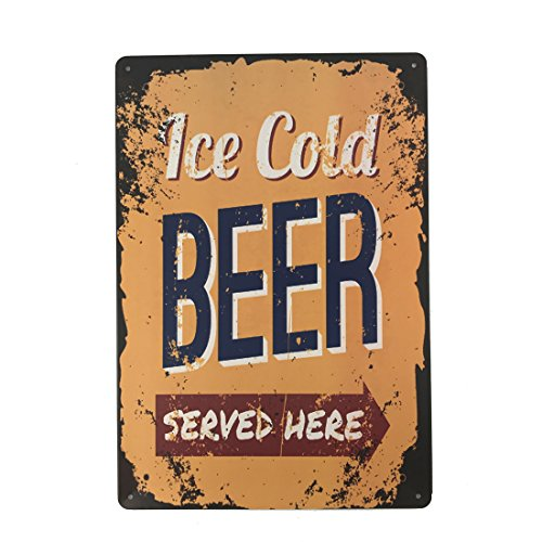 College Station Halloween (12x8 Inches Pub,bar,beverage,beer Series Wall Decor Hanging Metal Tin Sign Plaque (ICE COLD BEER SERVED HERE))